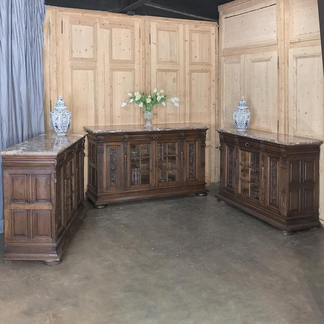 Late 19th Century Pair 19th Century French Louis XIV Marble Top Display Buffets For Sale - Image 5 of 13