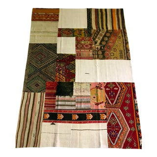 Turkish Hand Woven Patchwork Carpet For Sale