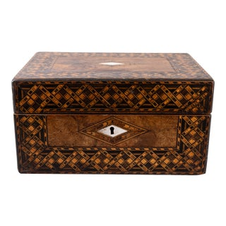 Antique 19th C. English Walnut Tunbridge Box For Sale