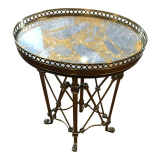 1980s Vintage Marble & Brass Tray Table For Sale