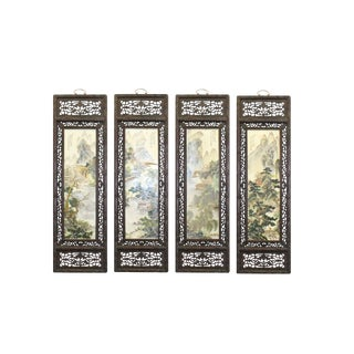 Chinese Mountain Water Scenery Porcelain Off White Painting Wall Panel Set For Sale