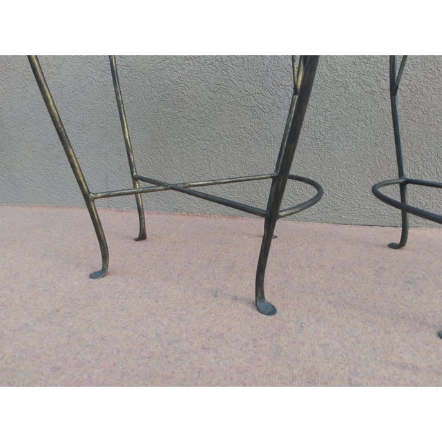 John Risley Style Sculptural Figural Wrought Iron Bar Stools - a Pair For Sale - Image 9 of 13