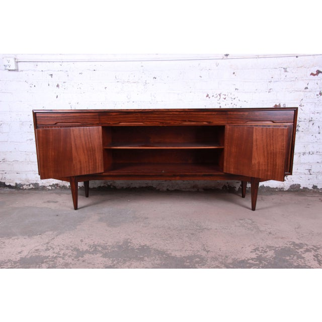Rosewood Danish Modern Rosewood Sideboard Credenza, Newly Refinished For Sale - Image 7 of 12