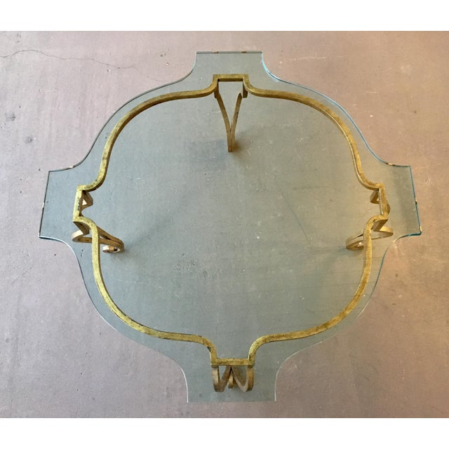 """Quality custom sculpted thick glass measuring approx 3/4"""" thick tops this classic gilt iron frame ideal for areas seeking..."""