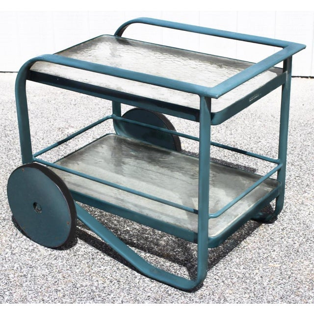 Contemporary 1980's Contemporary Richard Frinnier for Brown Jordan Green Patio Bar Cart For Sale - Image 3 of 3