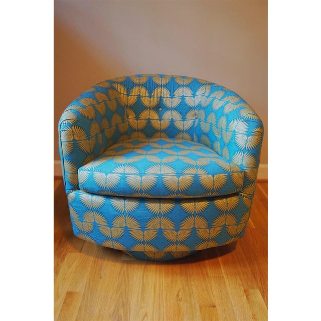 "This chair is so fun! Gold and blue ""caterpillar"" fabric with a cool print. Swivels and really comfortable. This will make..."
