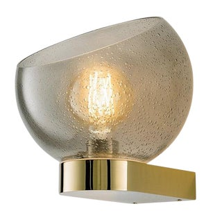 Brushed Brass and Glass Wall Light For Sale