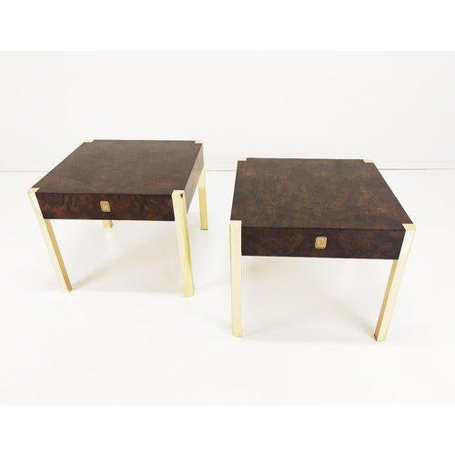 1970's Burl Wood and Brass Tables - a Pair For Sale - Image 10 of 10