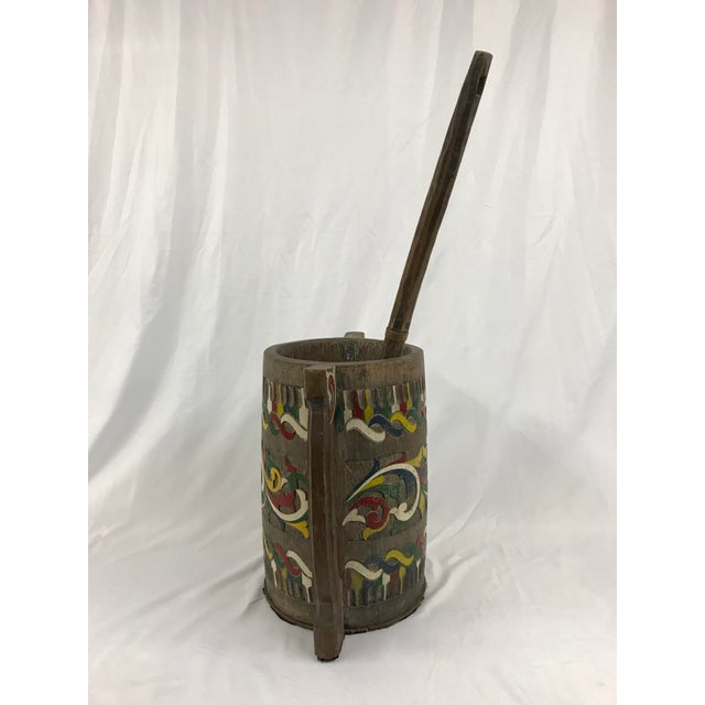 Primitive Polychrome Painted Carved Wooden Water Bucket With Ladle For Sale - Image 3 of 7