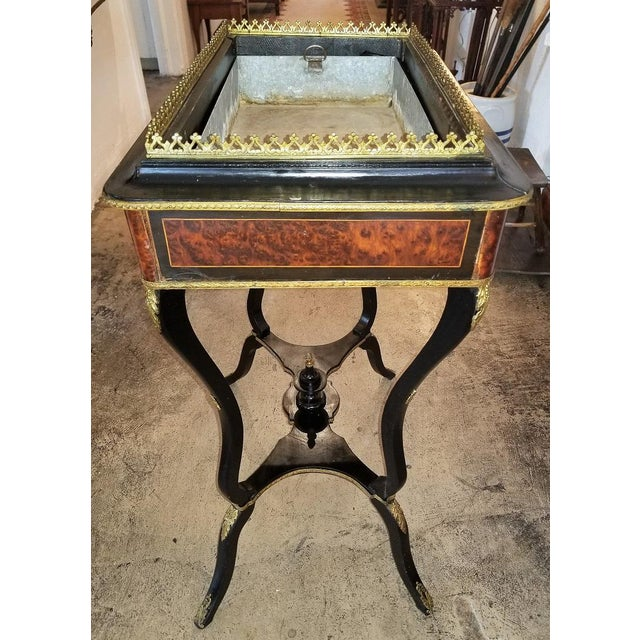 Empire 19th Century Napoleon III Ebony and Amboyna Jardinière For Sale - Image 3 of 13