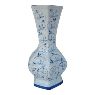 Hand Painted Blue & White Chinoiserie Vase For Sale