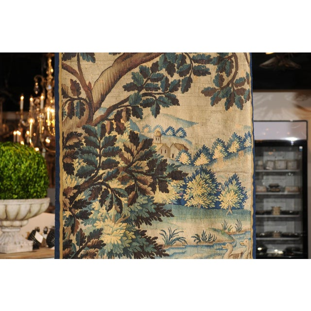 Pair of 19th Century French Handmade Vertical Tapestries with Pastoral Scenes For Sale - Image 10 of 12