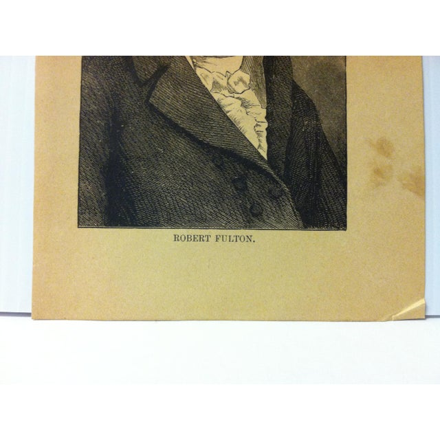 """Portraiture 1880 """"Robert Fulton"""" Successful Self-Made Men Print on Paper For Sale - Image 3 of 4"""