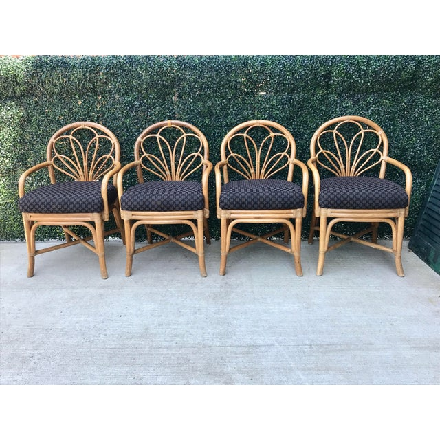 1970's Vintage Bent Bamboo Dining Upholstered Chairs - Set of 4 For Sale - Image 11 of 11