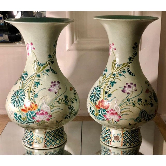 Pair Of Antique Green Art Deco Chinese Pottery Vases Chairish