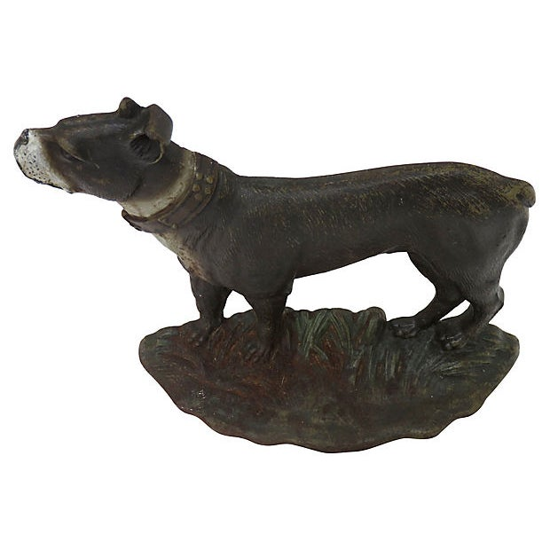 English 1920s Vintage Cast Iron Dog Doorstop For Sale - Image 3 of 6