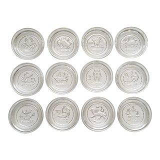 1960s Tiffinware Zodiac Glass Coasters - Set of 12 For Sale