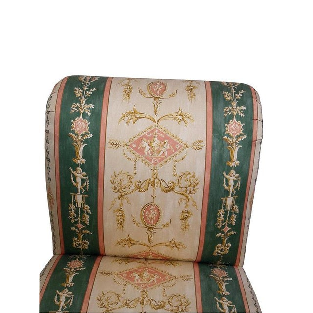 French Upholstered Cherub Neoclassical Napoleon III Slipper Chair For Sale - Image 4 of 8
