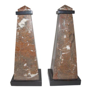 French Empire Revival Marble Obelisks - a Pair For Sale