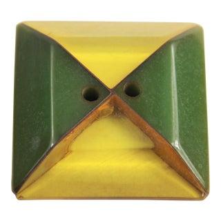 Vintage Laminated Bakelite Square Apple Juice & Green Button For Sale