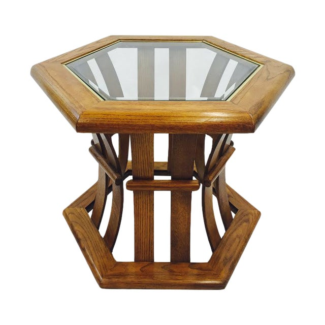 Retro Mid Century Wood & Glass Top Side Table - Image 1 of 7