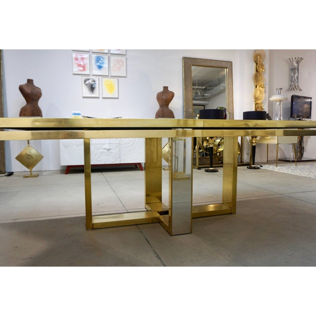 Sinopoli 1970s Italian Brass Satin & Chrome Geometric Large Dining / Hall Table For Sale - Image 10 of 11