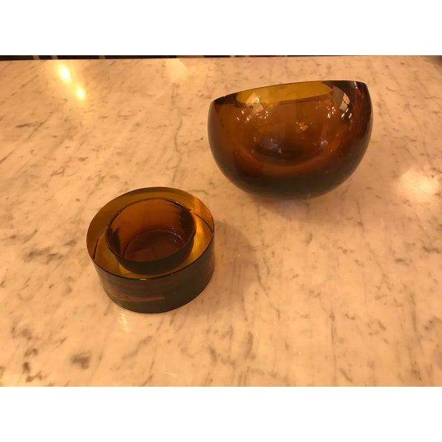 Mid 20th Century Hand-Blown Art Glass Angled Sphere Ashtray and Cachepot, Mid-Century For Sale - Image 5 of 6