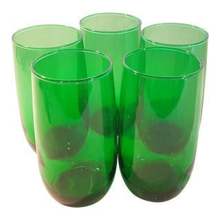 Anchor Hocking Roly Poly Forest Green 9 Oz Tumbler, Set of 5 For Sale