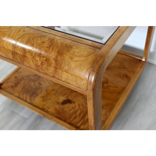 Mid Century Modern Pair Burlwood Coffee & Side End Table 1970s For Sale - Image 12 of 13