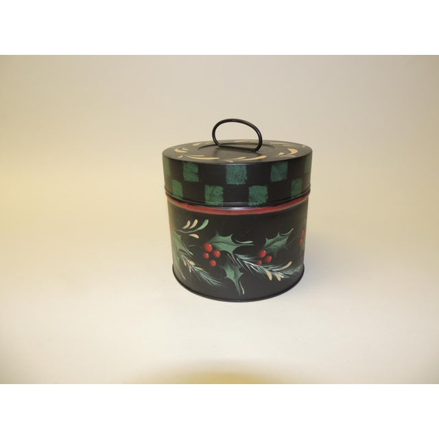 Boho Chic Vintage Round Tole Hand Painted Canister With Holiday Theme Hand Painted Details For Sale - Image 3 of 6