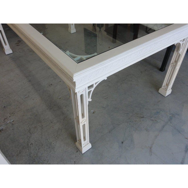 Regency Palm Beach Fretwork Dining Table For Sale - Image 3 of 12