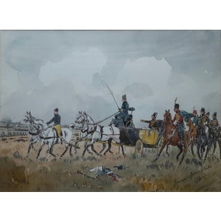 Antique Military Watercolor Painting For Sale