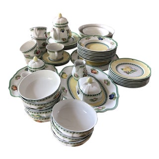 French Garden Fleurence Porcelain Collection by Villeroy & Boch - 48 Piece Set For Sale