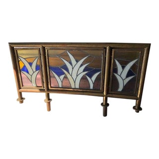 Vintage Brass Leaded Glass Screen or Panel For Sale