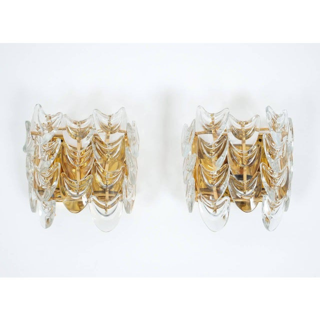 Pair of Gilded Brass and Glass Sconces by Palwa For Sale - Image 6 of 6