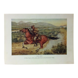 "Americana Color Print on Paper, ""A Pony Express Rider"" by w.h. Jackson, Circa 1940 For Sale"