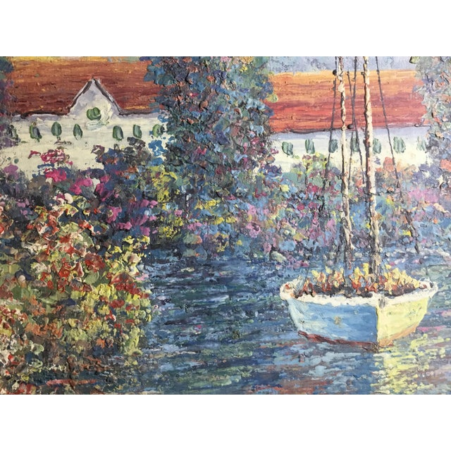 Vintage Sailing Boats on the Lake Oil on Canvas Painting For Sale - Image 9 of 11