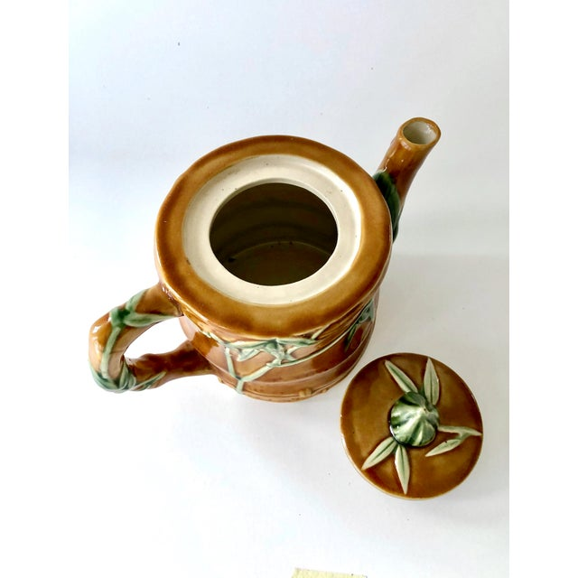 Vintage Ceramic Teapot With Bamboo Relief Carving For Sale In New York - Image 6 of 13