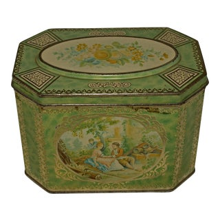 1930's Watteau Romantic Tea Caddy From Huntley & Palmers For Sale