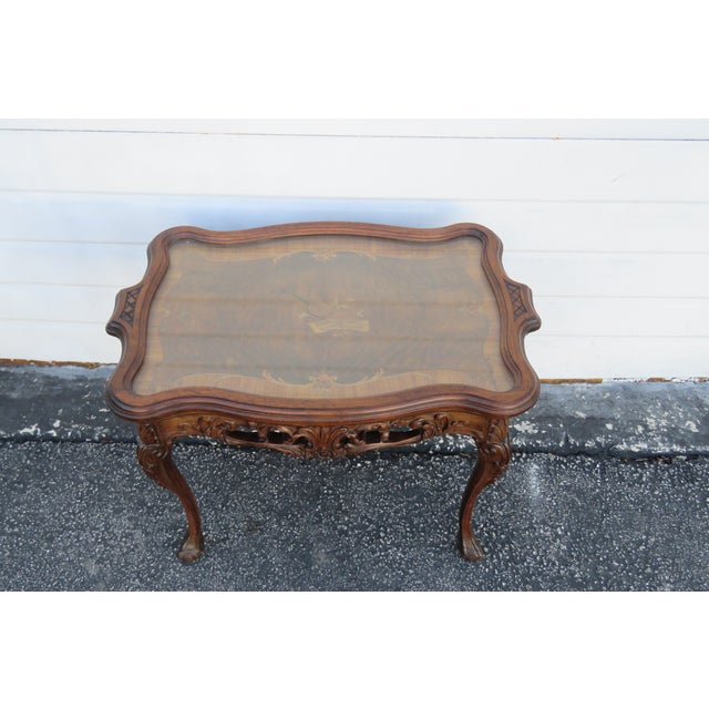 Early 1900s Hand Carved Violin Inlay Coffee Table With Serving Glass Tray For Sale - Image 12 of 12