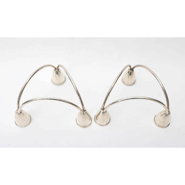 Sterling Silver Candleholders by Maurice Duchin - a Pair For Sale In West Palm - Image 6 of 8