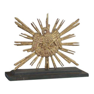 Carved Giltwood Sunburst Mounted as a Lamp For Sale
