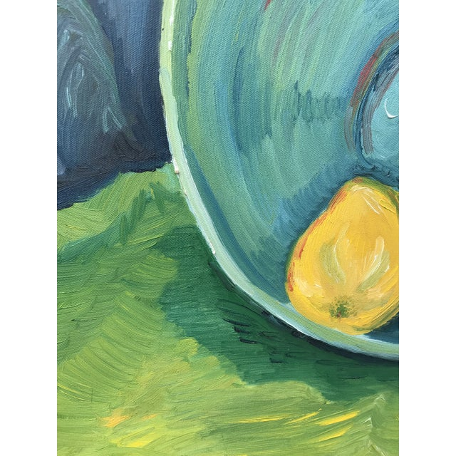 1990s Impressionist Still Life Painting of Lemons a Bowl For Sale - Image 4 of 9