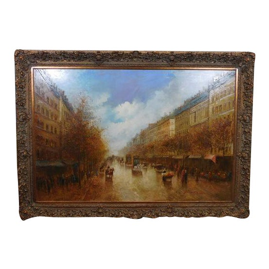 Paris Street Scene Impressionist Oil Painting For Sale