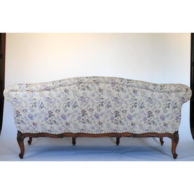 Blue Antique Sofa W/ Carved Wood & Feather Down Cushion For Sale - Image 8 of 13