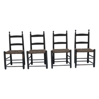 New England Rush Seat Ladder Back Chairs - S/4