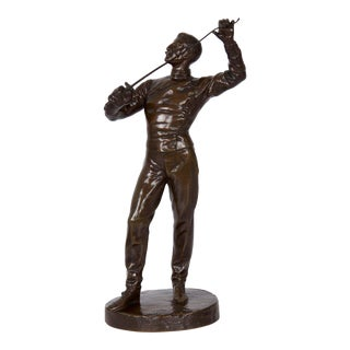 19th Century Antique French Bronze Sculpture of Fencer by Benoit Rougelet For Sale