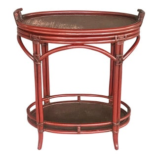 Vintage 1970's Bamboo Bar Cart With Removable Tray For Sale
