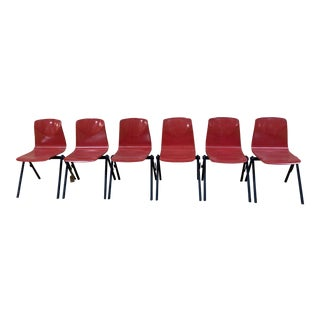 1960s Vintage Red Stacking Industrial Chairs - Set of 6 For Sale