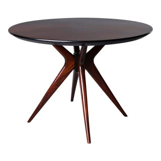 Italian Mid-Century Rosewood Breakfast or Game Table on Splayed Leg Base For Sale